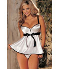 Bra Top Babydoll With Satin Front White