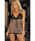 Animal Print And Lace Babydoll
