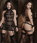 Banded Mesh Chemise With Chains