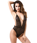 Deep-V Front Lace Teddy Black