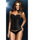Latex Rubber Steel Boned Underbust Corset Black