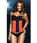 Latex Rubber Steel Boned Underbust Corset Orange